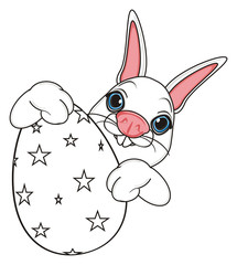 coloring, hold, large, peek up, snout, rabbit, farm, toy, bunny, pet, animal, cartoon, white, Easter basket, ribbon, egg, easter bunny, holiday,