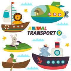 set of isolated sea transports with animals - vector illustration, eps