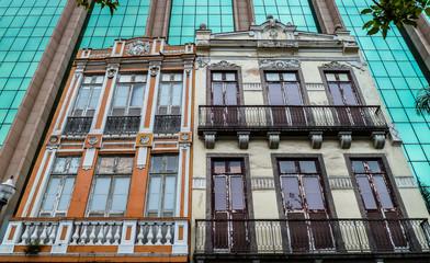 Historic buildings framed of modern facades, Rio de Janeiro, Brazil