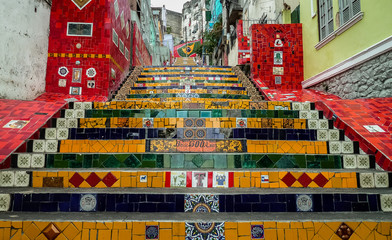 Unique stairs connecting the neighborhood Lapa and Santa Tereza, Rio de Janeiro, Brazil