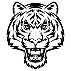 A Tiger head logo. This is vector illustration ideal for a mascot, tattoo or T-shirt graphic.