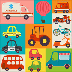 seamless pattern with fun transports - vector illustration, eps