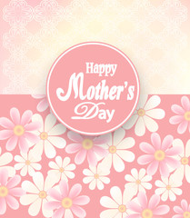 Happy Mothers Day card, the label of flowers on blurred background