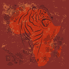 Tribal African design. Silhouette of angry tiger. Ethnic and ancient ornament.