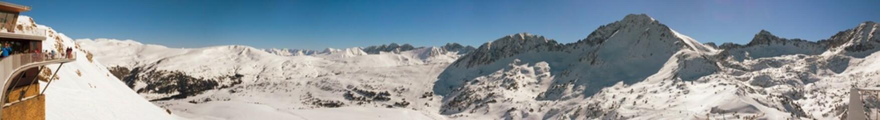 PYRENEES, ANDORRA - FEBRUARY 9, 2017: Panorama of alpine skiing slopes in Andorra