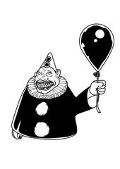 Creepy clown with a black balloon. Vector illustration