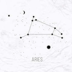 Astrology sign Aries on white paper background.