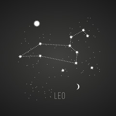 Astrology sign Leo on chalkboard background