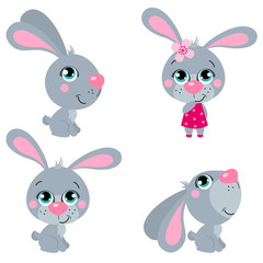 Set of cute cartoons  Easter rabbits. Suitable for Easter design. Vector illustration isolated for banners, site, card, calendar