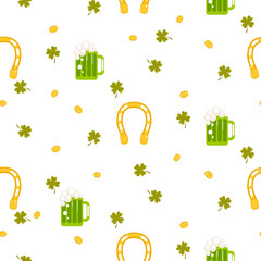 Irish St. Patrick celebration party seamless pattern. Lucky horseshoe, green beer ale and clover leaves tileable white background.