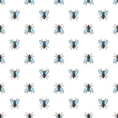 Fly vector seamless pattern for textile design, wallpaper, wrapping paper