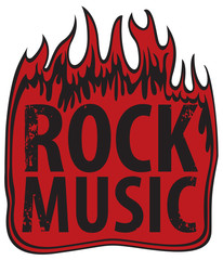 vector banner for rock music in fire