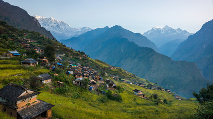 Panoramiv view of Muri, nepali traditional village, in Annapurna region, Himalaya. Dhaulagiri circuit trek, Nepal.
