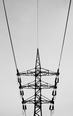 Metal construction of electricity lines, bottom view