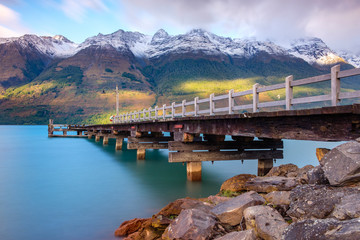 Canvas Prints New Zealand Landscape view of Glenorchy wharf pier, New Zealand