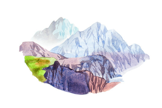Rocky mountain scenery natural landscape watercolor illustration