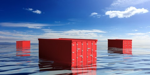 Red cargo containers lost in the sea ocean. 3d illustration