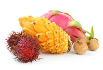Exotic fruits isolated on white Wall mural