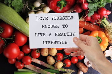 Motivation Inspirational quote Love Yourself enough to live a healthy lifestyle. Success, Self acceptance, Happiness concept