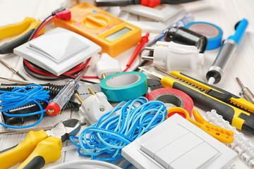 Closeup view of electrician tools