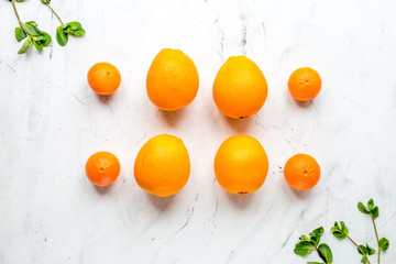fresh oranges on white background top view mock up