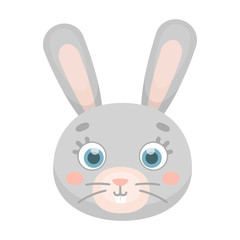 Rabbit muzzle icon in cartoon style isolated on white background. Animal muzzle symbol stock vector illustration.