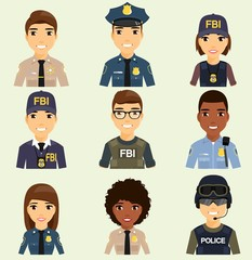 Icons of different law enforcement agencies. Professions protection of citizens. Young boys and girls.