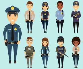 Set of different law enforcement agencies. Young boys and girls. Defenders of citizens in different areas of law enforcement. Sheriff, special forces, Federal Bureau of Investigation