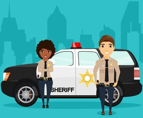Sheriff and his partner standing near a police jeep on the background of the city. On the custody order. Police jeep with a flashing light. Patrols. Happy people
