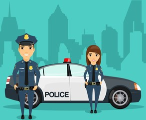 A young girl with a guy standing near police car on city background. Protecting citizens. Professionals in their field. Happy man and a woman.