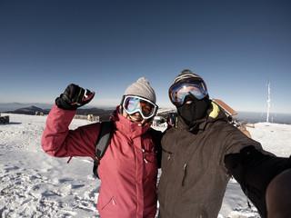Winter sport on mountain