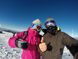 Couple on skiing happy together
