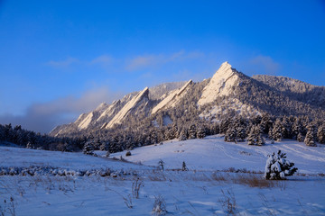 Sunrise After a Clearing Storm, Flatirons, Boulder, Colorado