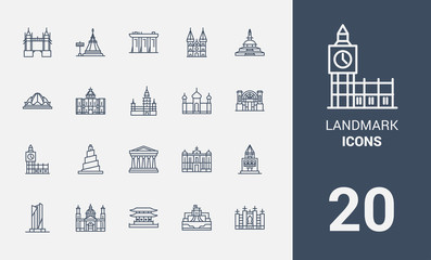 Landmark line icons set