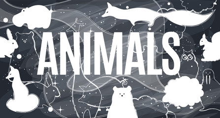 Vector flat animals illustration background.