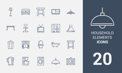 Household elements line icons set