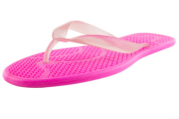 Pink Rubber flip-flops isolated