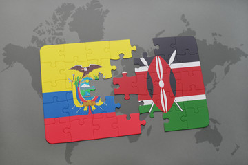 puzzle with the national flag of ecuador and kenya on a world map