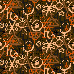 pattern with alchemy symbols
