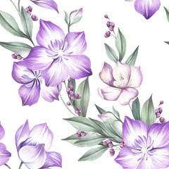 Seamless pattern with Clematis. Hand draw watercolor illustration