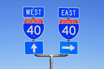 I 40 East and West road signs