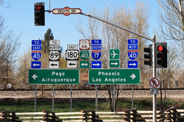 route 66 interstection signs