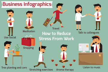 How to eliminate or reduce stress at work. business infographics vector illustration.