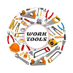 Repair construction work tools vector poster