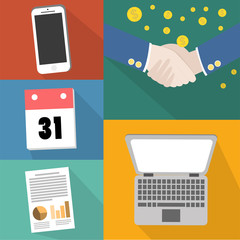 Vector collection of flat and colorful business, marketing. Design elements for web and mobile applications.
