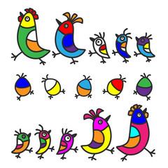 Set of bird's family