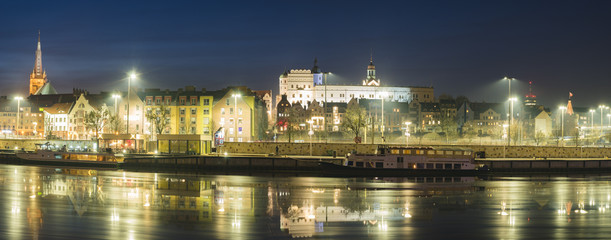 panorama of the historic district of Szczecin,night photography