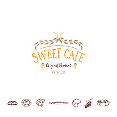 Badge for small businesses - sweet cafe. The pattern printing plate handmade works written by hand font. It can be used in a corporate style, prints, for your design