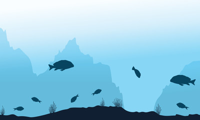 Silhouette of fish on underwater landscape