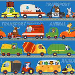 seamless pattern transports with animals on road - vector illustration, eps